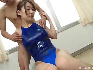 Oiled up Japanese babe Kashii Ria gives a blowjob in stage a revive