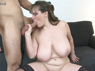MOM upon big saggy tits fucks young boy