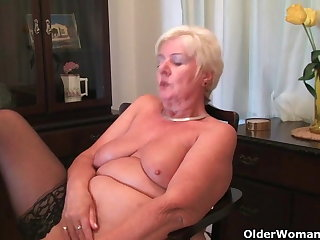 64 savoir faire old and British granny Sandie rubs her old pussy