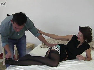 Hairy British mature mom fucking her lad