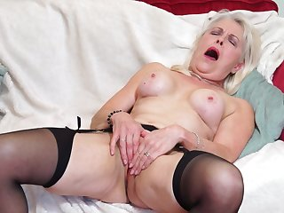 Mature amateur blonde granny Lady Sextasy strips and fingers myself