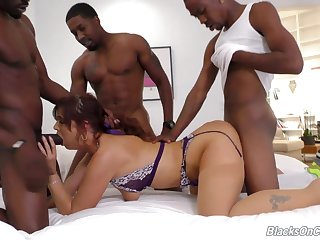Syren De Mer gets destroyed in interracial gangbang behave oneself