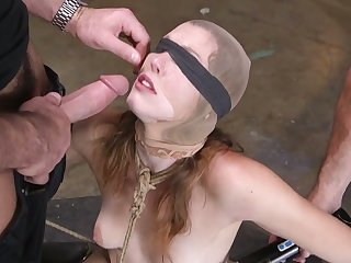 Kinky perverts fuck gaping void throat and anus for destined up and restrained bitch Ella Evening star