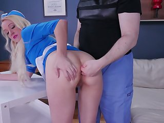 X stewardess Anneliese Snow gets her mouth and anal hole slammed hard
