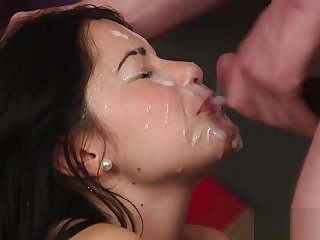 Frisky doll gets cumshot on their way face swallowing all the ejaculate
