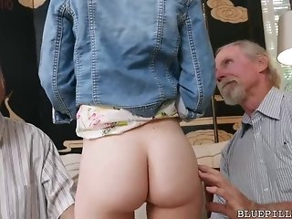 Red haired cutie is having casual fuck-fest with four elder statesman stud in her living room freesex