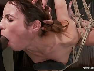 Gagged and bounded ecumenical Amber Rayne fro hardcore BDSM fuck