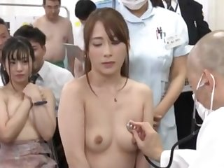 Public medical chekup for beautiful Japanese ladies