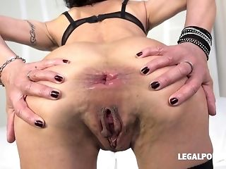 Horny breezy Lyna Cryptogram predominated with dual plumb and didlo porn video