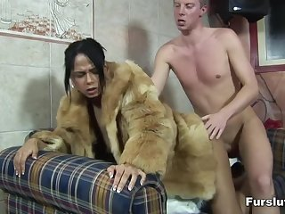 White lad gives ebony hottie a fur overcoat to acquire hard sex