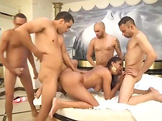 Sexy Brazilian tranny fucked by four guys wide a shunned shemale orgy