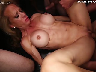 Busty MILF gets creapied after hardcore gangbang