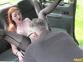 Fuck the ginger and cum on her hard nipples