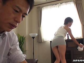 Asian maid teases her VIP masterfully and then she gets his dick