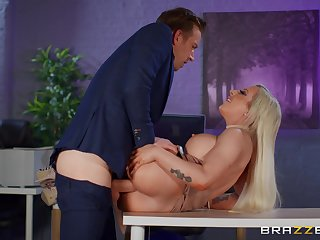 Obese breasts sinner Skyler McKay fucked hard in the office