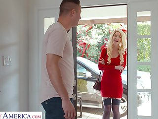 Lady in red Kit Mercer fucks her neighbor and become absent-minded chick got some big tits