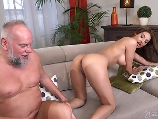 Old guy with a stiff dick enjoys shagging hot ass Sarah Cute