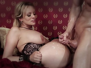 Pornstar Stormy Daniels in stockings plus lingerie having wild carnal knowledge