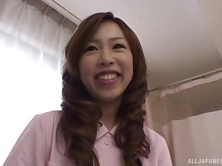 Cute Japanese be responsible for drops her uniform to ride a simulated manhood