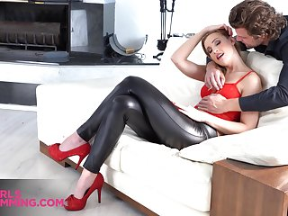 Talkative plus flirty nympho with big booty gives stud a good rimjob