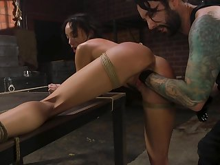 Flawless bondage slutty black sweetie Alexis Tae is brutally fisted tonight
