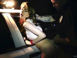 Profane taxi drive brutally fucks soaking pussy of naughty Hannah Hays