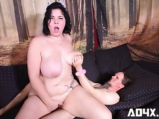 chubby MILF rides his hard veiny pecker