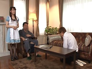 Victorian pussy hottie Yui Sasaki moans while sucking two fat dicks