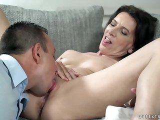 Small titted brunette, Muck about has hooked appear c rise Rob, desolate to ride his rock hard load of shit