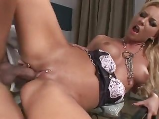 Emaciate maid Angelina Love grinds dong nearby pierced cunt
