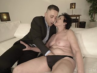Horny granny is already untidy enough for that young guy
