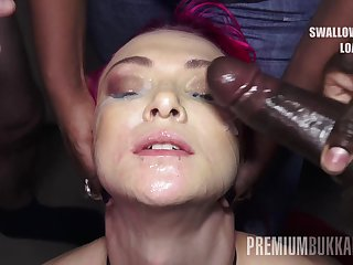 PremiumBukkake - Daniella Ray swallows 74 huge snack cumshots