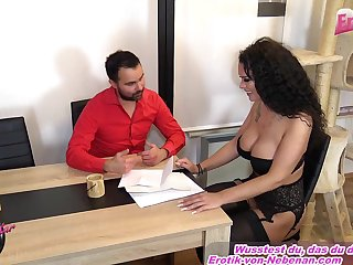 Curly hair german blackness fuck on table