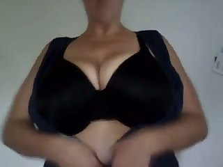 The big tits stunner loves playing with her massive confidential with an increment of she's so horny