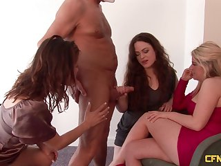 Two dudes with small dicks property blown by Ella James coupled with other girls