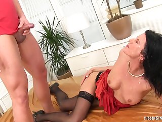 Slutty brunette loves Pissing Hard Fuck