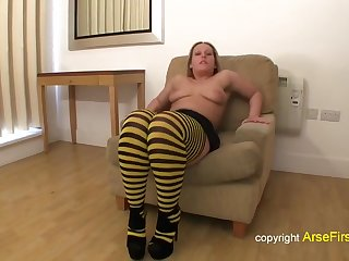 Slutty blonde has a sex toy up her ass space fully sucking dick, to make it very hard