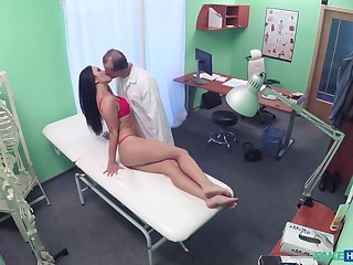 Doctor shows the babe in arms his dick and fucks their way