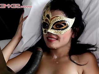 Amateur in mask fucked by black dick with the addition of gets facial
