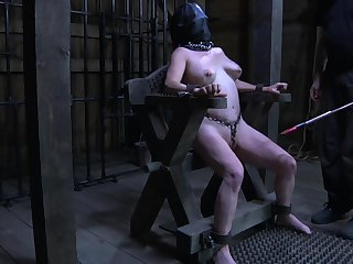 Obedient heavy whore with leather slaved mask Femcar gets pussy stretched