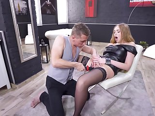Fine blonde gets harbinger in the dirtiest manners