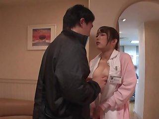 Asian nurse Kiritani Nao anent uniform gives a nice blowjob. POV