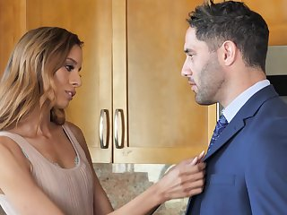 Wild fucking give make an issue of kitchen with skinny housewife Kylie Le Sweetheart