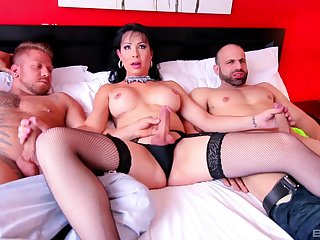 Fabulous shemale works two big dicks in threesome