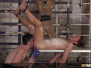 Twinks share upside down maledom kink on cam