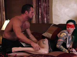 Tattooed hottie Taurus gets blindfolded coupled with fucked overwrought her man