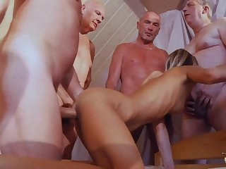 Pretty Teen Gina Gerson is fucked by several kinky pensioners using Viagra