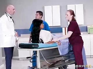 Buxom dark-hued woman with a adorable tat, Mary Jean is taking her doctor's massive man-meat, nearly his office